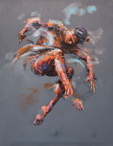 Painting of a human body jumping in the air